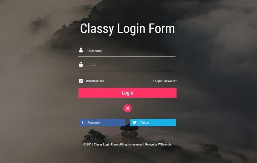 Form đăng nhập Bootstrap mẫu 3