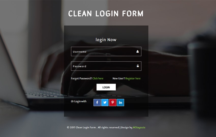 Form đăng nhập Bootstrap mẫu 7